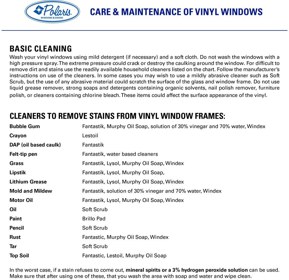 polaris windows and doors care and maintenance of vinyl windows